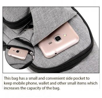 OSUKI Japan Style Multifunction Men Crossbody External USB Charging Port Travel Bag (Dark Blue)