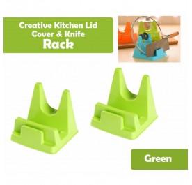 OSUKI Creative Kitchen Lid Cover And Knife Rack (Green) (x2)