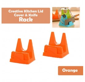 OSUKI Creative Kitchen Lid Cover And Knife Rack (Orange) (x2)