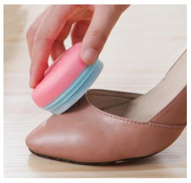 OSUKI Portable Macaron Shape Double-Sided Cute Round Candy Color Sponge Shoe Brush Polisher (Pink)