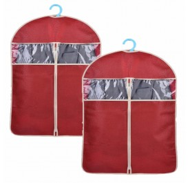 OSUKI Hanging Cloth Dust Cover Garment Bag 60 X 108cm (Red) (x2)