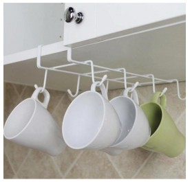 OSUKI 8-Hook Japanese Style Multipurpose Kitchen Hanging Rack (White)
