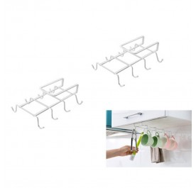 OSUKI 8-Hook Japanese Style Multipurpose Kitchen Hanging Rack (White) (x2)