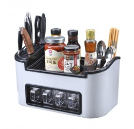 OSUKI Multifunctional Kitchen Storage Cutlery Organizer With 4 Seasoning Box
