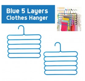 OSUKI 5 Layer Clothes Hanger (Blue) (x2)