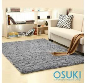 OSUKI Modern 160 x 120cm Living Room Silky Wool Carpet (Grey)