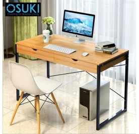 OSUKI Home Office Table 120 x 60cm With Double Drawer (Brown)