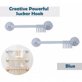 OSUKI Creative Powerful Sucker Hook For Bathroom Wall (Blue) (x2)