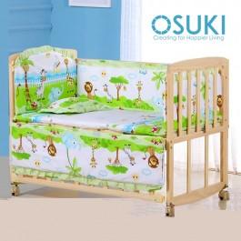 OSUKI Baby Cot + Bedding Bump Set (Free Mosquito Net)