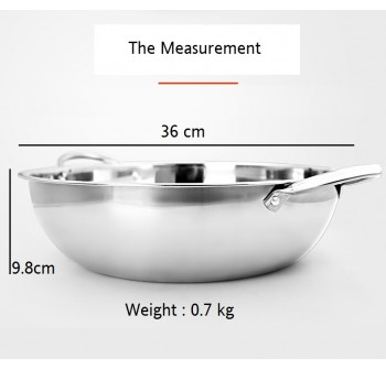 OSUKI Steamboat Pot 36cm Stainless Steel With Glass Cover (2 in 1)