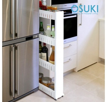 OSUKI Kitchen Storage 4 Tier Pulley Rack (White)