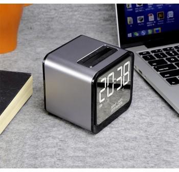 OSUKI Wireless Bluetooth FM Radio Stereo Speaker LED Alarm Clock (Gold)