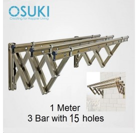 OSUKI Stainless Steel Wall Drying Rack Clothes Hanger With 15 Holes (1M x 3Bar)
