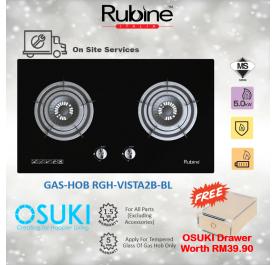 Rubine Gas Cooker Hob RGH-VISTA2B-BL Tempered Glass (FREE OSUKI DRAWER)