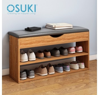 OSUKI Nature Wood Shoe Rack Chair 2 Layer (78 x 41cm)