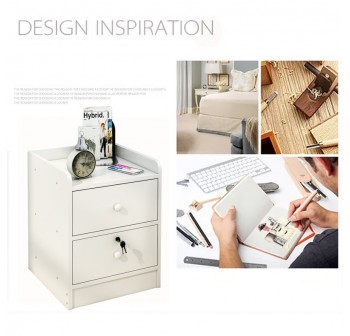 OSUKI Bedside Drawer Table 2 Layer with Keylock
