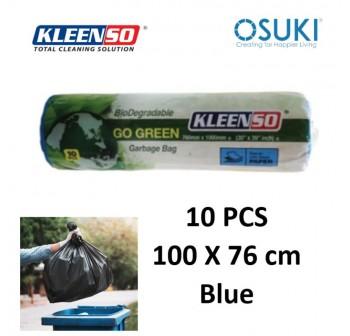 KLEENSO Garbage Bag Dustbin Oxo-Biodegradable 10pcs 100x76cm (Blue)
