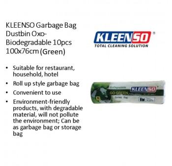 KLEENSO Garbage Bag Dustbin Oxo-Biodegradable 10pcs 100x76cm (Green)